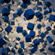 Stock Photo: An explotion of abstract cubes cgi background