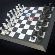 Chess game board with visible player's strategy moves — Stock Photo