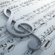 Stock Photo: Clef symbol on notation chart (Claude Debussy - Danse)