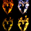 Stock Photo: Heart shaped fires