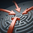 Circular maze with red arrows - Stock Photo