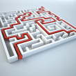 Maze illustration - finding the solution concept — Stock Photo