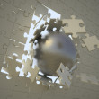 Steel sphere breaking through the surface of a puzzle — Stock Photo #8022002