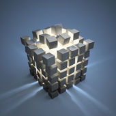 An explotion of abstract cubes cgi background — Stock Photo