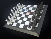 Scheda di gioco di scacchi con strategia del giocatore visibile si muove — Foto Stock