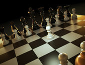 Chess game - one against many — Stock Photo