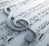 Clef symbol on a notation chart (Claude Debussy - Danse) — Stock Photo
