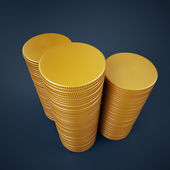Three high stacks of blank golden coins — Stock Photo