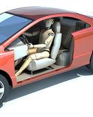 Crash test dummy behind the wheel — Stock Photo