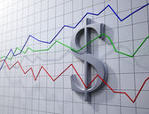 Forex trading concept illustration- dollar rating chart — Stock Photo