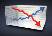 Red and blue graphs in an analytical chart — Stock Photo
