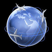Three airplanes around th eglobe - air travel concept illustration — Stock Photo