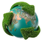 Globe with green arrows covering the Earth — Stock Photo
