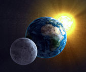 Astronomy illustration - Moon, Earth and the Sun — Stock Photo