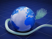 Globe with fiber optic cable — Stock Photo