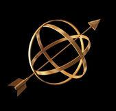 3 d イラスト - 抽象的な黄金の地図作成機器. — ストック写真