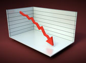 Chart with red arrow declining 3D graph illustration — Stock Photo
