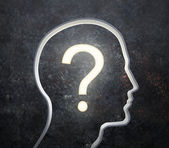3D silhouette of a male face with a glowing question mark — Stock Photo