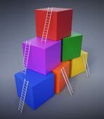 Climbing up the ladders — Stock Photo