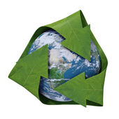 Globe with green leaf-like arrows - recycling symbol — Stock Photo