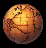 Earth globe made of grunge copper like metal — Stock Photo