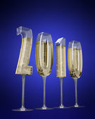 Champaigne glasses shaped like numbers -2010 New Year — Stock Photo
