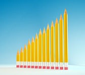 Pencils forming a graph - chart. education concept image — Stock fotografie