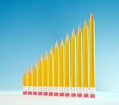 Potloden vormen een graph - grafiek. onderwijs concept afbeelding — Stockfoto