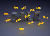 Sale with floating percentage numbers — Stock Photo