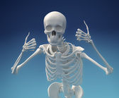 Undead Skeleton holding his thumbs up and smiling — Stock Photo