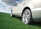 Car standing in a field of grass - ecological transport concept — Stock Photo