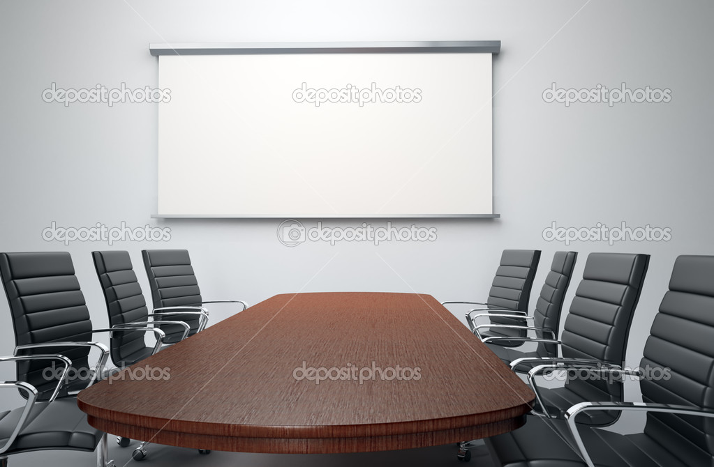 Conference room with empty chairs and a projector screen — Stock Photo #8020614