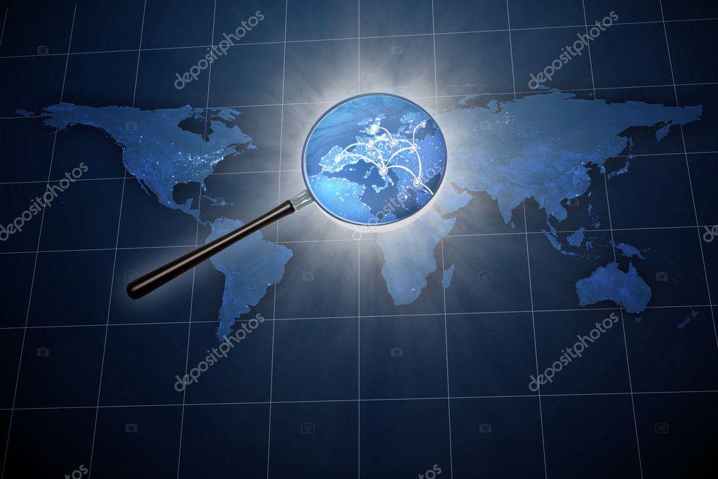 loupe sur la carte du monde europe zoom photographie mopic 8021153. Black Bedroom Furniture Sets. Home Design Ideas