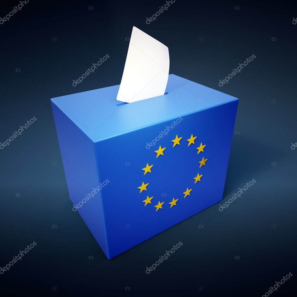 Ballot box with the EU symbol - European elections concept illustration — Stock Photo #8021170