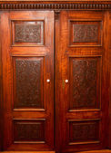 Old fashion wardrobe with carving — Stockfoto