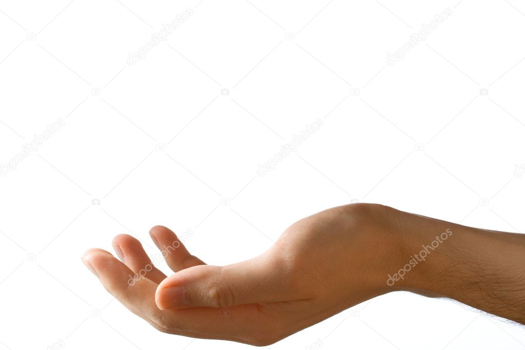 Male hand on a white background — Stock Photo #8050368