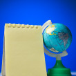 Notepad with globe - Foto de Stock  