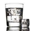 Glass of water with ice cubes — Stock Photo