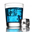Blue cocktail with ice cubes - Foto Stock