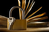 An old book and a keylock — Stock Photo
