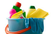 Plastic bucket with cleaning supplies — Stock Photo