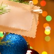 Christmas-tree decorations and card - Stockfoto