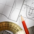 Draft with drafting instrument - Stock Photo