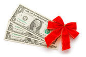 Dollar with holidays bow — Stock Photo