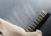Metal brush on steel background — Stock Photo