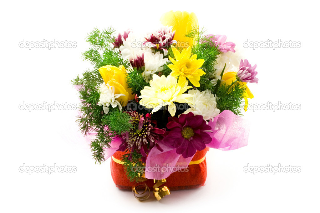 Flowers in basket on white — Stock Photo #8514440