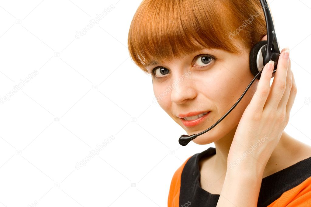 Portrait of a young female customer service operator on white background  Stock Photo #8514637