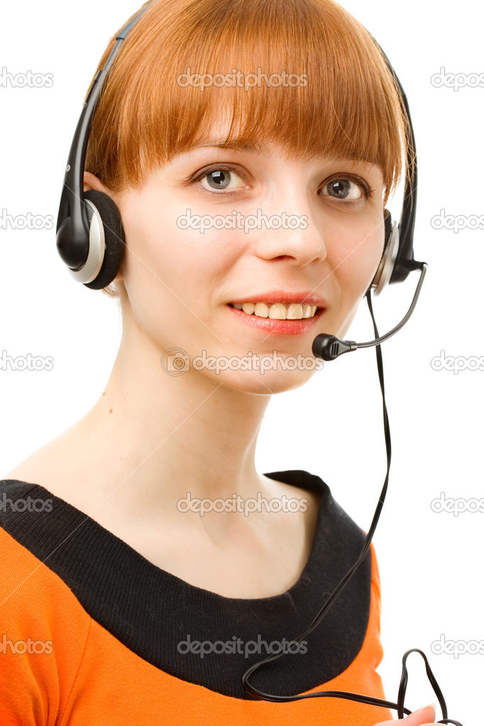 Portrait of a young female customer service operator on white background  Stock Photo #8514651