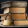 Stock Photo: Old books and keylock