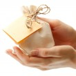 Gift sack with card — Stock Photo